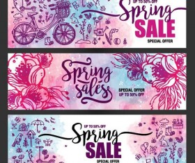 Spring sale sprcial banners template vector 01
