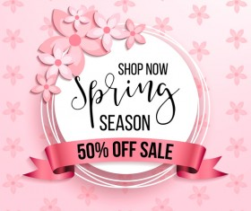 Spring season background with sale label and ribbon vector 02