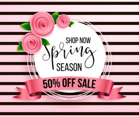Spring season background with sale label and ribbon vector 03
