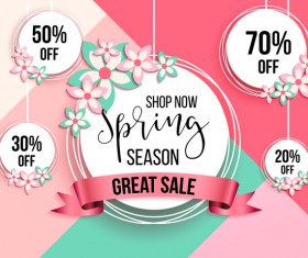 Spring season discount background with circle label vector 01