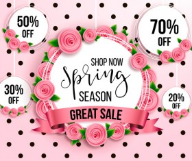 Spring season discount background with circle label vector 02
