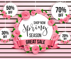 Spring season discount background with circle label vector 03