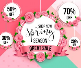 Spring season discount background with circle label vector 04