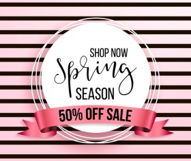 Spring season sale background with discount ribbon vector 01