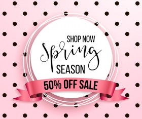Spring season sale background with discount ribbon vector 02