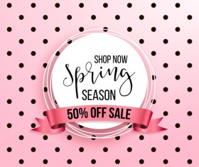 Spring season sale background with discount ribbon vector 03