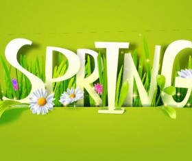 Spring text with spring background vector 01