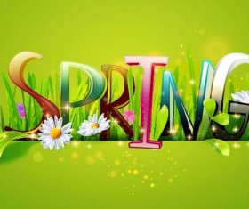 Spring text with spring background vector 02