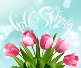 Spring tulips with halation background vector