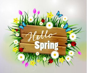 Spring wooden sign with flower vector