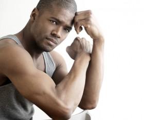 Strong build black guy Stock Photo 01