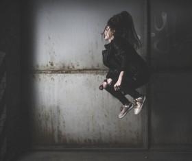 Stylish woman with extreme posing style Stock Photo