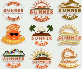 Summer holiday labels template vectors