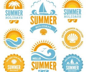 Summer holiday labels with badge vectors material