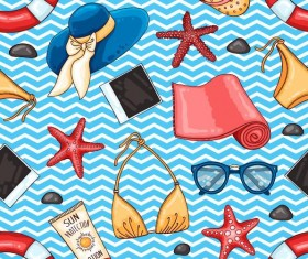 Summer holiday styles seamless pattern vector 03