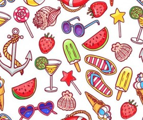Summer holiday styles seamless pattern vector 04