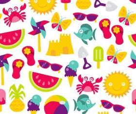 Summer holiday styles seamless pattern vector 09