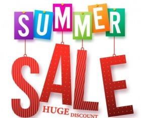 Summer huge discount design vector