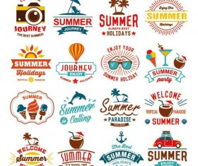 Summer labels design vectors set