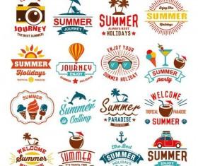 Summer labels design vectors set