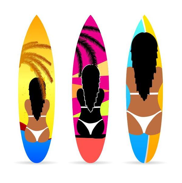 Surf board template vectors 07