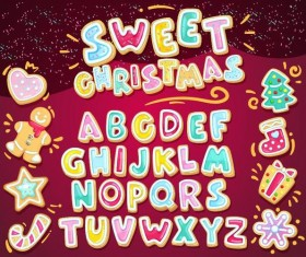 Sweet christmas alphabet with baubles vector