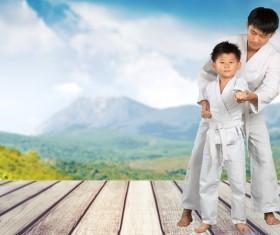 Teach children to practice karate Stock Photo
