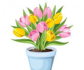 Tulips in pot vector material