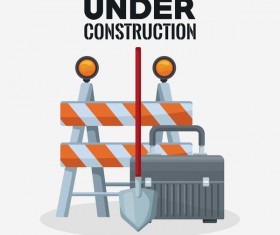 Under construction sign design vector 01