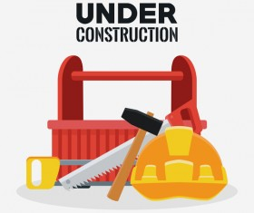 Under construction sign design vector 02