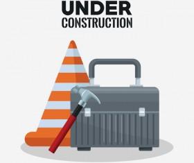 Under construction sign design vector 04