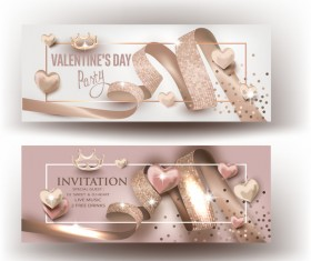 Valentine Day party invitation beige cards with curly ribbons vector