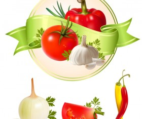 Vegetable label with vegetable vector