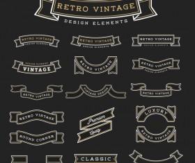 Vintage blank ribbon vector material