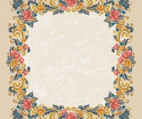 Vintage flower frame vectors material 01