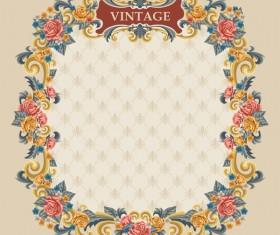 Vintage flower frame vectors material 02