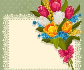 Vintage flower with retro frame vectors