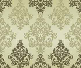 Vintage green damask seamless pattern vectors 01