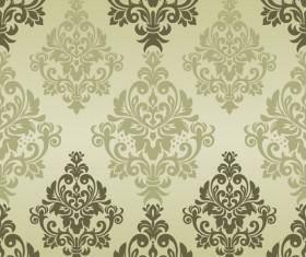 Vintage green damask seamless pattern vectors 01
