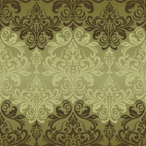 Vintage green damask seamless pattern vectors 02