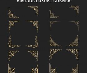 Vintage luxury corner ornament vector