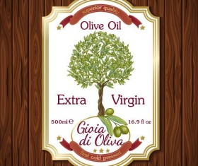Vintage olive oil lable with wooden background vector 01