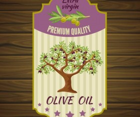 Vintage olive oil lable with wooden background vector 02