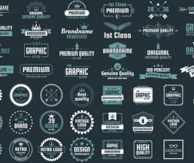 Vintage quality labels with logotypes vector set