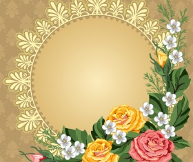 Vintage round frame with flower decor vector
