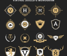 Vintage shield monogram vector material