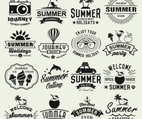 Vintage summer holiday logos typography vector 01