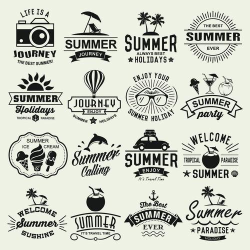 Vintage summer holiday logos typography vector 01