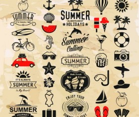 Vintage summer holiday logos typography vector 02