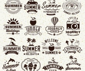 Vintage summer holiday logos typography vector 03